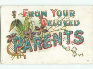 Pre-Linen LANGUAGE OF FLOWERS - PARENTS - SPELLED IN FLOWERS J3606