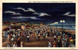 Florida Daytona Beach Ocean Promenade At Night Curteich