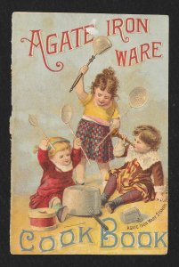 VICTORIAN TRADE CARD Agate Iron Ware Kids Playing Pan & Spoons