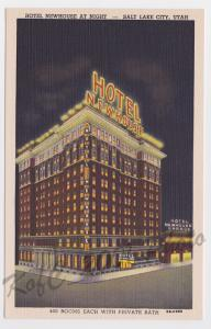 Hotel Newhouse Night View Salt Lake City Utah Curteich Vintage Postcard