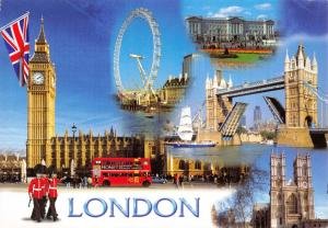 Postcard, London Multi View, Big Ben, Tower Bridge, Buckingham Palace Z41