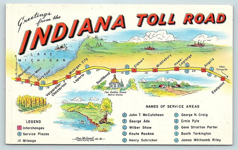 Indiana Toll Road Map Postcard IN Map of Indiana Toll Road Service Areas D12 / HipPostcard Indiana Toll Road Map