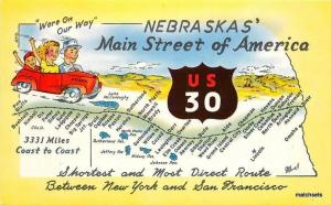 1957 Map Attractions US30 Main Street NEBRASKA Dunlap Henline postcard 5331