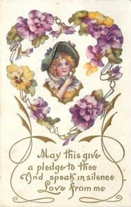 Victorian Girl~Purple Pansy Heart~Blonde Ringlets~Lime Hat~Gold Art Nouveau~1910