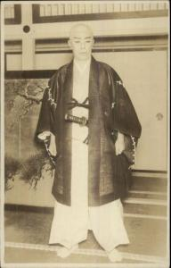 Japanese Man Samurai? Costume Kimono Makeup c1915 Real Photo Postcard