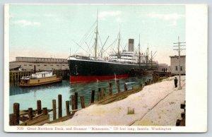 Seattle Washington~Great Northern Dock~Steamer Minnesota~Men on Shore~c1910