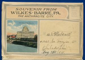 Wilkes Barre Pennsylvania pa Anthracite City Miners Bank postcard folder