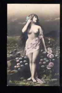 034927 NUDE Lady w/ Very LONG HAIR as MERMAID Nymph Vintage PC