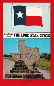 Texas Greetings From The Lone Star State With Flag and Welcome Sign