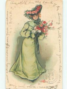 Pre-Linen Fashion PRETTY WOMAN IN BIG HAT AB7482
