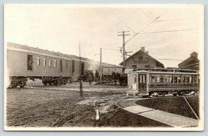 Lake Mills WI~Depot~C&NW RY US Mail Railway Train & Guy~TMER&L Trolley~1911 RPPC
