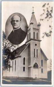 Vintage RPPC Real Photo Postcard Church Building / Priest Portrait Le Mars Iowa?