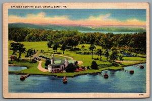 Postcard Virginia Beach VA c1940s Cavalier Country Club Golf & Yacht Club Aerial