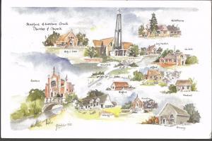 Postcard Art Painting Churches & Chapels of Stratford & Evesham by A Nicholas 92