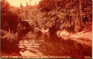 Vtg Postcard 1910 Sepia PNC River Scene at Ben Lomond Hotel California Bridge