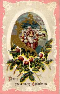 Greeting - Christmas, Santa Claus, Brown Robe