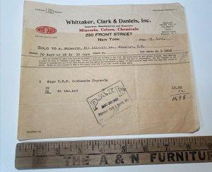 RARE 1920 Whittaker Clark & Daniels MINERALS COLORS CHEMICALS New York Billhead