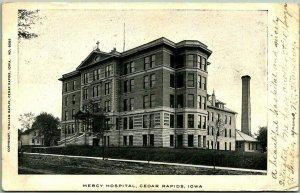 Cedar Rapids, Iowa Postcard MERCY HOSPITAL Building View Wm. Bayliss 1905 Cancel