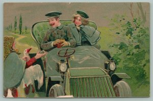 PFB~Old Lady Holds Out Hand~Sells Goose To Couple~Green Vintage Auto~Series 5999