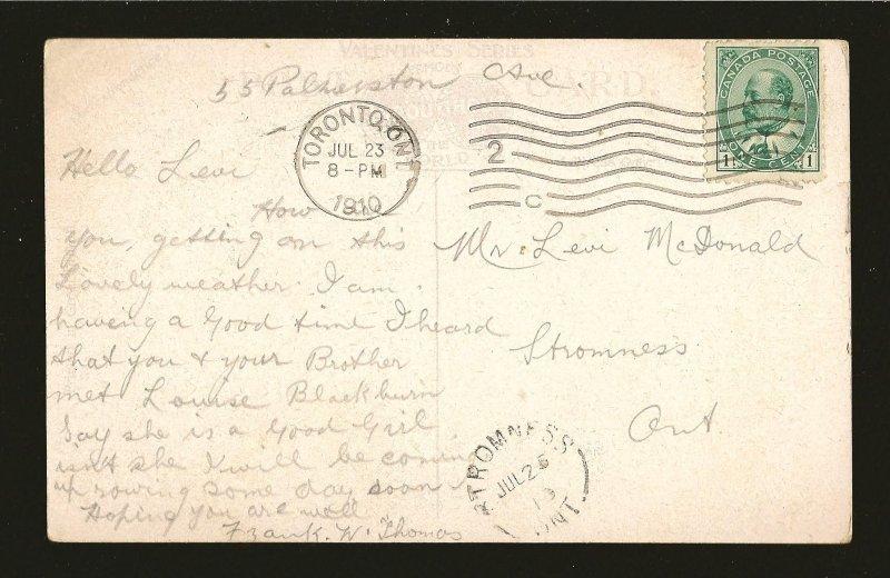 Canada Postmark 1910 Toronto Ont What The Stars Said Marriage Proposal Postcard