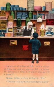 Bamforth No 4082 Young Boy At Store Counter