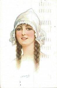Artist Signed Reading Woman Vintage Postcard 06.33
