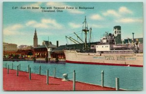 Cleveland Ohio~East 9th Street Pier & Terminal Tower~Great Lakes Jell Line~1940s