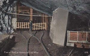 Mines Man Standing At Foot Of Shaft In Anthracite Coal Mine Pennsylvania 1915