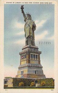 Statue of Liberty New York City, USA 1945 light postal marking on front, pape...