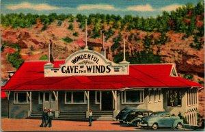 Vtg Linen Postcard Manitou Springs Colorado CO Wonderful Cave of the Winds UNP
