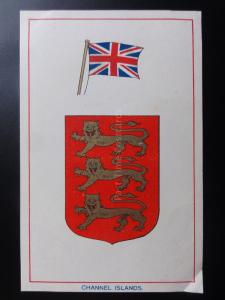 CHANNEL ISLANDS - Heraldic Coat of Arms & Flag c1906 - Pub by E.F.A.