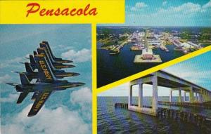 Florida Pensacola Aerial View Pensacola Bay Bridge and Blue Angels 1973
