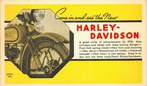1936 Harley Davidson Motorcycle Advertising Postcard