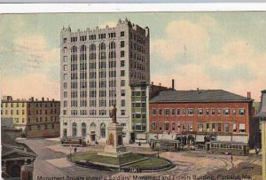 Maine Portland Monument Square Showing Soldiers Monument And Fidelity Buildin...