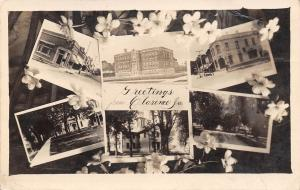 Clarence Iowa~Art Nouveau Flora~Main Sts~School~Residential Homes RPPC c1911