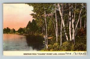 Stoney Lake Ont. Canada - Greetings from Viamede, Vintage Postcard