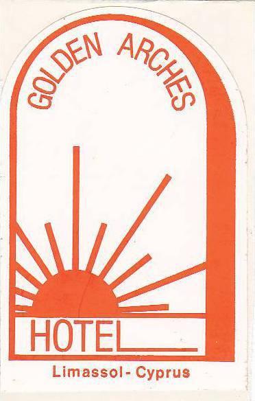 CYPRUS LIMASSOL GOLDEN ARCHES HOTEL VINTAGE LUGGAGE LABEL