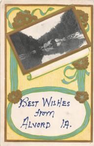 F19/ Alvord Iowa Postcard 1910 Best Wishes Greetings from Alvord
