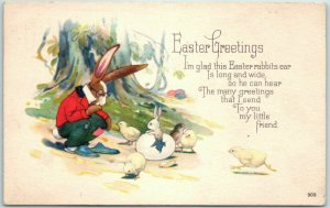 1923 EASTER Greetings Postcard Dressed Rabbit w/ Bunnies Hatching from Eggs