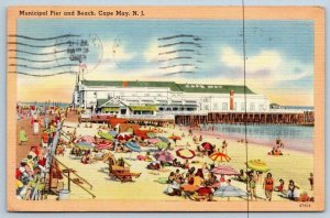 1950 CAPE MAY NEW JERSEY NJ MUNICIPAL PIER & BEACH TICHNOR LINEN PUB BY RICKER'S