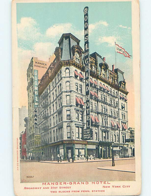 Unused Divided-Back MANGER GRAND HOTEL AT 31ST & BROADWAY New York City NY B1924