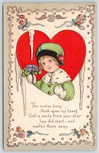 MEP Valentine~Little Girl in Red Heart~Lime Coat~Lace Doily Border~ART DECO~515C
