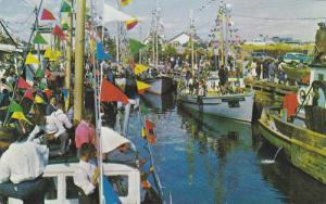 The yearly blessing of the fishing boats,  Gaspe,  Quebec,  Canada,  40-60s