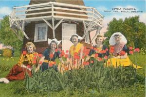 Pella Iowa~Lovely Flowers~Tulip Time~Flower Bed~Windmill~Dutch Women~1940s PC