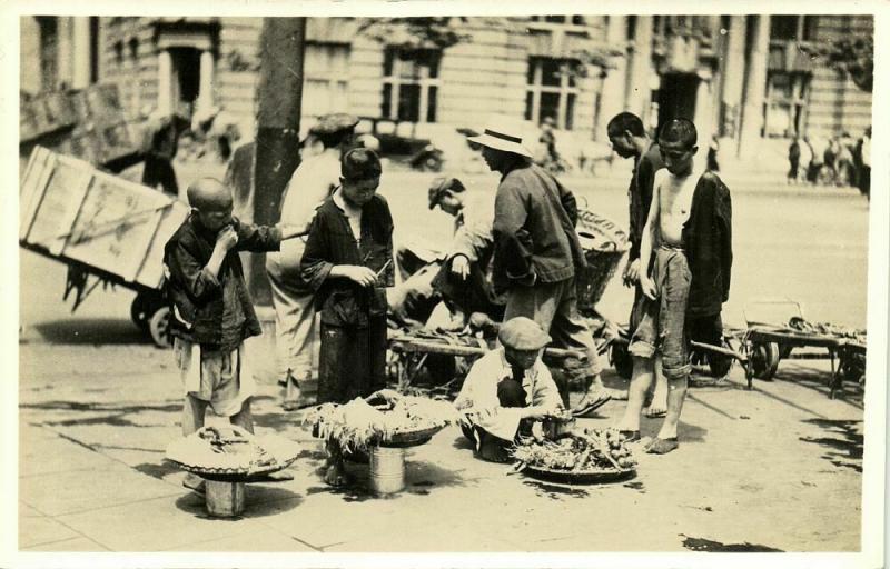 china, PEKING, HONG KONG, SHANGHAI (?), Street Sellers (1920s) RPPC Postcard