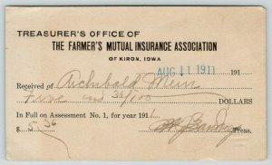 Kiron IA~Farmer's Mutual Ins~Treasurer's Office~Archibald Mein, Ida Grove~1911