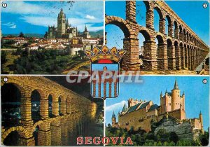 Postcard Modern Segovia Catedral y Murallas Roman aqueduct iluminado