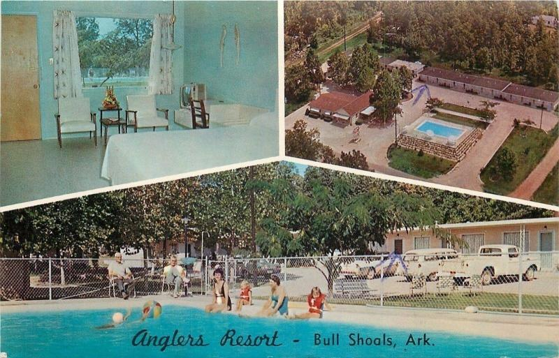 Bull Shoals Arkansas~Anglers Resort Aerial~Inside Room~Pool~1950s Cars Truck