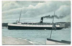 Steamer Manitou postmarked Petoskey Michigan 1916 postcard
