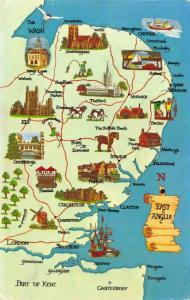 Map Postcard, East Anglia, Norfolk, Suffolk, Essex, Norwich, Ipswich 30S